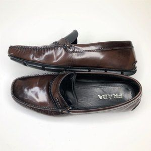 Prada Loafer Driver Black Brown Patent Leather